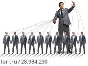 Купить «The boss employee manipulating his staff in business concept», фото № 28984230, снято 20 сентября 2018 г. (c) Elnur / Фотобанк Лори