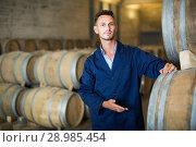 Купить «Young male wearing uniform standing in winery cellar», фото № 28985454, снято 19 января 2019 г. (c) Яков Филимонов / Фотобанк Лори