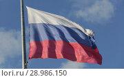 Купить «Флаг России на флагштоке развевается на фоне синего неба», видеоролик № 28986150, снято 23 августа 2018 г. (c) Игорь Долгов / Фотобанк Лори