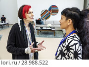 Купить «Florida, Miami Beach, Art Basel Week, Untitled, gallery show event, contemporary, woman, mature, trendy haircut, bright red hair coloring, talking, hands gesturing, inside, tent,», фото № 28988522, снято 5 декабря 2017 г. (c) age Fotostock / Фотобанк Лори