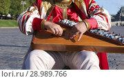 Купить «Folk musician in traditional Russian clothes plays an old Russian musical instrument gusli on the background of the Kremlin on red Square. Moscow, Russia», видеоролик № 28989766, снято 25 августа 2018 г. (c) Алексей Кузнецов / Фотобанк Лори