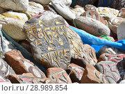 Тибет. Буддистские молитвы - камни с мантрами и ритуальными рисунками на тропе по ходу коры из города Дорчен вокруг горы Кайлас (2018 год). Стоковое фото, фотограф Овчинникова Ирина / Фотобанк Лори