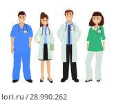 Купить «Group of doctors in a hospital, flat design», иллюстрация № 28990262 (c) Мастепанов Павел / Фотобанк Лори