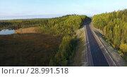 Купить «Полет вдоль лесной автомобильной трассы, проходящей в хвойном лесу, среди озер и болот. Карелия», видеоролик № 28991518, снято 23 августа 2018 г. (c) Кекяляйнен Андрей / Фотобанк Лори