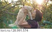 Купить «Owner Woman Loves Her Cat», видеоролик № 28991574, снято 26 августа 2018 г. (c) Илья Шаматура / Фотобанк Лори