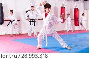 Купить «Boy training karate movements in gym», фото № 28993318, снято 19 сентября 2018 г. (c) Яков Филимонов / Фотобанк Лори