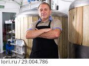 Купить «Adult brewer is standing near barrel for beer», фото № 29004786, снято 18 сентября 2017 г. (c) Яков Филимонов / Фотобанк Лори