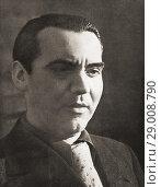 Federico del Sagrado Corazón de Jesús García Lorca, aka Federico García Lorca, 1898-1936. Spanish poet, playwright, and theatre director. After a contemporary print. Редакционное фото, фотограф Classic Vision / age Fotostock / Фотобанк Лори