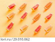 Купить «marmalade sweets on colored background», фото № 29010062, снято 26 августа 2018 г. (c) Майя Крученкова / Фотобанк Лори