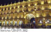 Купить «Plaza Mayor (Main Plaza) in Salamanca, Spain», видеоролик № 29011382, снято 25 декабря 2017 г. (c) BestPhotoStudio / Фотобанк Лори