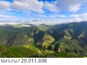 Купить «Panoramic view of the highland in the valley of the river Kura from the height of the hill», фото № 29011698, снято 24 января 2019 г. (c) Mikhail Starodubov / Фотобанк Лори
