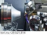 Купить «Sheet metal forming processes. spinning blank on cnc lathe machine», фото № 29021814, снято 16 мая 2018 г. (c) Дмитрий Калиновский / Фотобанк Лори