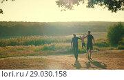 Купить «Family in the Park on Sunset», видеоролик № 29030158, снято 30 августа 2018 г. (c) Илья Шаматура / Фотобанк Лори