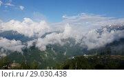 Купить «Caucasian mountains from Rosa Khutor resort, Russia», видеоролик № 29030438, снято 15 июня 2018 г. (c) Володина Ольга / Фотобанк Лори