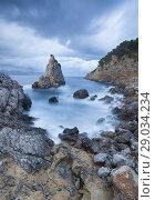Es Niu de s'Aguila under storm, Alcudia, Majorca, Balearic Islands, Spain. Стоковое фото, фотограф Sebastià Torrens / age Fotostock / Фотобанк Лори