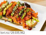 Купить «Photography of plate with toast with lettuce, avocado and cheese», фото № 29035962, снято 24 июня 2018 г. (c) Яков Филимонов / Фотобанк Лори