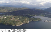 Купить «Aerial view on Norwegian fjords, Norway», видеоролик № 29036694, снято 1 сентября 2018 г. (c) Некрасов Андрей / Фотобанк Лори