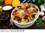 Купить «Chicken thigh baked with rice, eggplant and figs», фото № 29036818, снято 8 марта 2018 г. (c) Надежда Мишкова / Фотобанк Лори