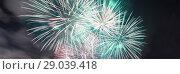 Купить «Celebratory colorful fireworks exploding in the skies», фото № 29039418, снято 7 сентября 2013 г. (c) Владимир Журавлев / Фотобанк Лори