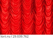 Купить «Red waving tulle curtain. Background photo texture», фото № 29039762, снято 8 апреля 2018 г. (c) EugeneSergeev / Фотобанк Лори