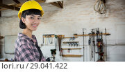 Купить «Composite image of female architect in hard hat standing against white background», фото № 29041422, снято 24 сентября 2018 г. (c) Wavebreak Media / Фотобанк Лори