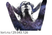 Купить «double exposure of woman and purple galaxy», фото № 29043126, снято 30 октября 2009 г. (c) Syda Productions / Фотобанк Лори