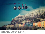 Купить «Aerial view of Grenoble with French Alps and cable car», фото № 29044114, снято 7 декабря 2017 г. (c) Яков Филимонов / Фотобанк Лори