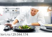 Купить «happy male chef cooking food at restaurant kitchen», фото № 29044174, снято 2 апреля 2017 г. (c) Syda Productions / Фотобанк Лори