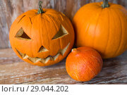 Купить «jack-o-lantern or carved halloween pumpkin», фото № 29044202, снято 18 сентября 2017 г. (c) Syda Productions / Фотобанк Лори