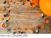 Купить «halloween decorations with space on wooden boards», фото № 29044206, снято 18 сентября 2017 г. (c) Syda Productions / Фотобанк Лори