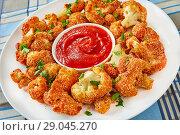 Купить «baked Breaded cauliflower with tomato sauce», фото № 29045270, снято 11 августа 2018 г. (c) Oksana Zh / Фотобанк Лори