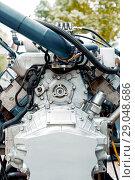 Купить «Internal combustion engine operating on gas fuel», фото № 29048686, снято 18 октября 2017 г. (c) Андрей Радченко / Фотобанк Лори
