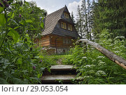 Lesniczowka u Zieby, a former forest house converted to a guesthouse and restaurant, located at the gate of the Chocholowska Valley, near Witow, Podhale... Стоковое фото, фотограф Christian Goupi / age Fotostock / Фотобанк Лори