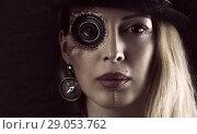 Купить «Steampunk girl portrait on black. Monocular lens», фото № 29053762, снято 13 апреля 2017 г. (c) katalinks / Фотобанк Лори