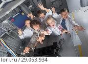 Купить «five children rest in the quest room game», фото № 29053934, снято 21 октября 2017 г. (c) Яков Филимонов / Фотобанк Лори