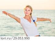 Купить «Portrait of sportswoman which is doing excercises on endurance», фото № 29053990, снято 17 июля 2017 г. (c) Яков Филимонов / Фотобанк Лори
