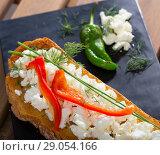 Купить «Toast with soft cheese and bell pepper», фото № 29054166, снято 19 июля 2019 г. (c) Яков Филимонов / Фотобанк Лори