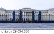 Купить «Saint Petersburg. State Russian Museum of Fine Arts in the building of the Mikhailovsky Palace (1819-1825 years of construction) and the cast-iron fence of the architect K. Rossi», фото № 29054630, снято 27 августа 2018 г. (c) Виктория Катьянова / Фотобанк Лори