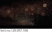 Купить «Colorful fireworks on black sky background stock footage video», видеоролик № 29057106, снято 3 сентября 2018 г. (c) Юлия Машкова / Фотобанк Лори