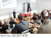 Купить «Business speaker giving a talk at business conference event.», фото № 29057818, снято 20 сентября 2018 г. (c) Matej Kastelic / Фотобанк Лори