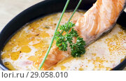 Купить «Image of tasty cream soup with salmon, served with greens in bowl at table», видеоролик № 29058010, снято 27 августа 2018 г. (c) Яков Филимонов / Фотобанк Лори