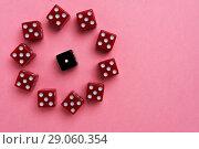 Купить «Red and black gaming dices on pink background», фото № 29060354, снято 3 января 2018 г. (c) Pavel Biryukov / Фотобанк Лори