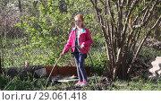 Купить «Девочка из шланга поливает растения на даче», видеоролик № 29061418, снято 21 апреля 2018 г. (c) Олег Хархан / Фотобанк Лори