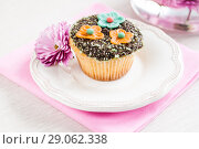 Купить «cupcake with chocolate ganache and decorated with flowers chrysanthemums», фото № 29062338, снято 16 ноября 2013 г. (c) Tetiana Chugunova / Фотобанк Лори