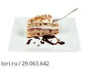 Купить «Pie of delicious cake with apple and whipped cream filling», фото № 29063642, снято 18 февраля 2019 г. (c) Игорь Бородин / Фотобанк Лори