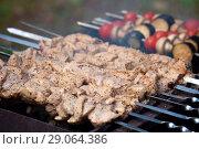 Купить «Шашлык мясной и овощной  на мангале», фото № 29064386, снято 31 августа 2018 г. (c) Татьяна Белова / Фотобанк Лори