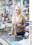 Купить «Portrait of store clerk at household and cosmetic shop», фото № 29066234, снято 19 октября 2018 г. (c) Яков Филимонов / Фотобанк Лори