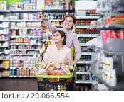 Купить «Smiling woman and girl with shopping cart», фото № 29066554, снято 5 января 2017 г. (c) Яков Филимонов / Фотобанк Лори
