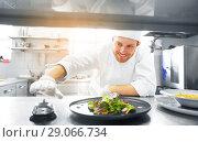 Купить «happy male chef cooking food at restaurant kitchen», фото № 29066734, снято 2 апреля 2017 г. (c) Syda Productions / Фотобанк Лори