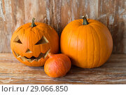 Купить «jack-o-lantern or carved halloween pumpkin», фото № 29066850, снято 18 сентября 2017 г. (c) Syda Productions / Фотобанк Лори